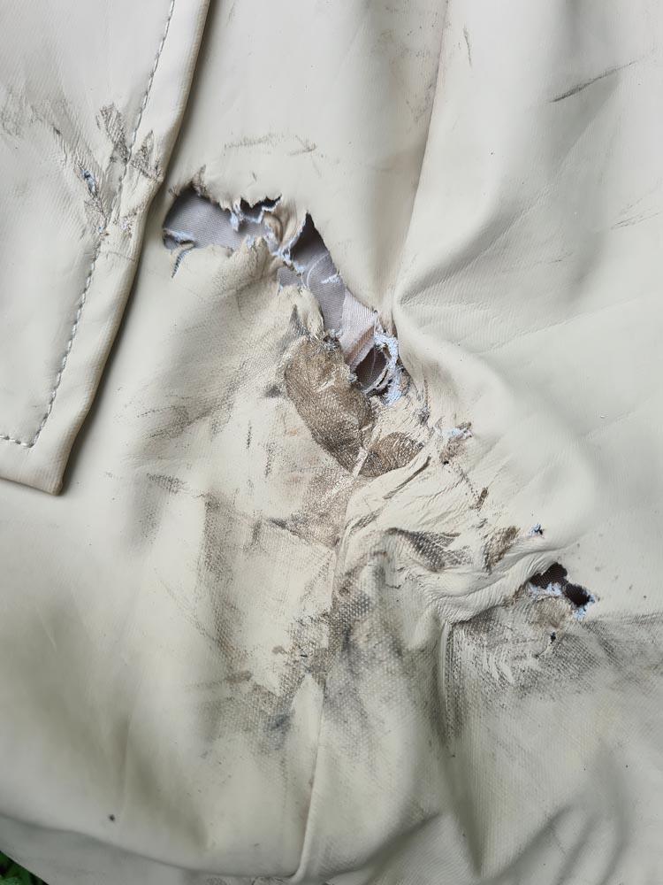 Damaged coat